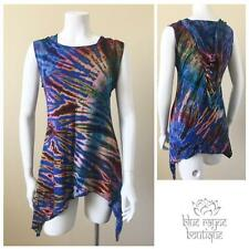 Jayli Size Medium Hippie Tie Dye Asymmetrical Pixie Cut Tank Top Hooded Tunic M1