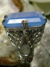 Emerald Cut Chalcedony Solid Sterling Silver Victorian Filigree Ring Size 5.5