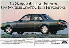 Publicité Advertising 1982 (2 pages) Ford Granada 2,8 Litres Injection