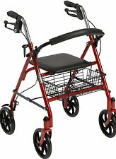 "Drive Medical Folding Walker Rollator  8"" 4 Wheels With Padded Seat With basket"