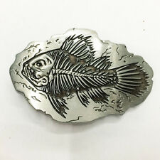 Gift Fish Fossil Belt Buckle Man Black No Leather Large Free Shipping New