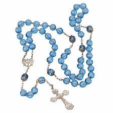 Ancien Chapelet Argent Massif 59 Perles de Verre Bleu / Antique Rosary