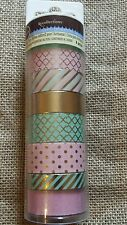 Recollections Embellishments Washi Tape Mint green, Pink and Gold foil 8 rolls