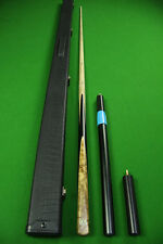 1 Piece Ash Shaft  Yellow Maple Burl Handmade Black Ebony Snooker Cue Set#FY377