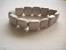 NEW FLAT GRAY MARBLE SQUARE STRETCH BRACELET
