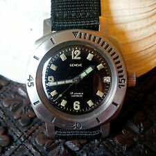 Vintage Le Phare Geneve Divers Watch w/Gilt Dial,All SS Tested 1000 Meters Case