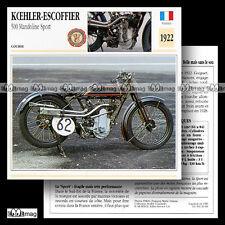 #020.09 KOEHLER-ESCOFFIER 500 MANDOLINE SPORT 1922 Fiche Moto Motorcycle Card