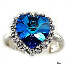 1pc  Chic Crystal Full Rhinestones Heart of Ocean Ring Women Jewelry ZON BLUE