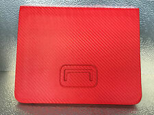 PU Leather Carbon Fiber Pattern Case Cover Stand for iPad 2 3 4 Red & Black