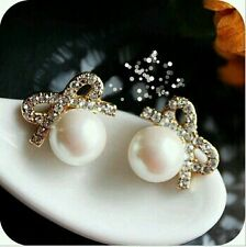 New Fashion Lovely Crystal Pearl Romantic Bow Stud Earrings Gift Women Jewelry