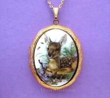 Porcelain BABY FAWN Deer & Violets CAMEO Locket Pendant Necklace Christmas Gift
