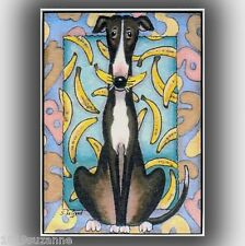 ACEO LTD ED GONE BANANAS GREYHOUND PAINTING PRINT FROM ORIGINAL SUZANNE LE GOOD