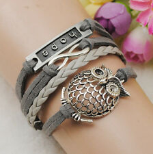 Infinity Owl Hope Friendship Antique Silver Leather Cute Charm Bracelet B850