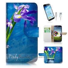 Samsung Galaxy S4 Print Flip Wallet Case Cover! Flower Painting P0460