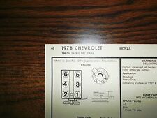 1978 Chevrolet Chevy Monza SIX Series Models 196 CI V6 2BBL Tune Up Chart