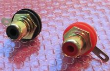 A Pair of High Quality Gold-Plated Phono (RCA)  Chassis Sockets + Teflon Washers