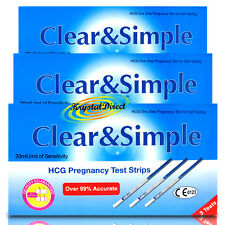 9x Clear & Simple HCG Pregnancy Test Strips 20miU/ml of Sensitivity Tests