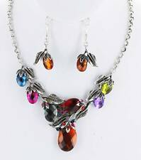 VICTORIAN STYLE MULTI COLOR FACTED GLASS STUD SILVER TONE LEAF NECKLACE EARRING