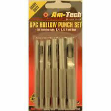 HOLLOW PUNCH SET 6pc FOR LEATHER, RUBBER, VINYL, PLASTICS 6 PIECE Tools