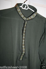 Pakistani Men Salwar Kameez Parties Casual Wear w embroidery Dark Green  M