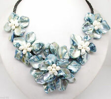 """Fashion Handmade Freshwater Pearl Blue Sea Shell Flower Leather Necklace 18"""""""