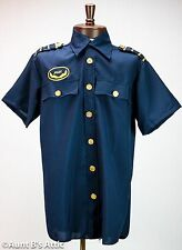Pilot Shirt Navy Blue Short Sleeved Uniform Style Costume Shirt W/ Gold Trim Lg