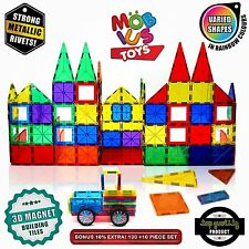 100 Piece Magnetic 3D Building Tiles Set Clear Colors STRONG Child Kids Toys NEW