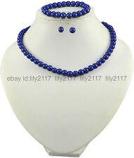 Fashion 8MM Blue Shell Pearl Necklace Earrings & Bracelet Set