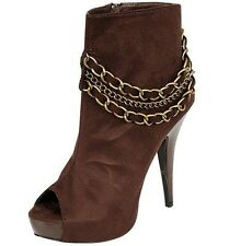 Women's Brown Chain Platform High Heel Open Toe Boots Size -7