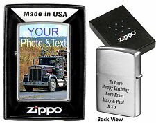 ZIPPO LIGHTER PERSONALISED  DOUBLE SIDE PRINTED !!!  PHOTO & TEXT BIRTHDAY GIFT