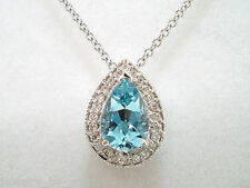 950 PLATINUM AQUAMARINE AND DIAMONDS PEAR SHAPE PENDANT NECKLACE 0.82 CARAT
