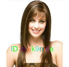New Fashion mature woman with long straight hair wig fashion wig + Wig cap