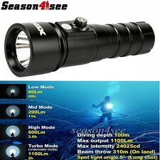 XTAR D26 Whale CREE XM-L2 U3 LED 1100 Lms 18650/18700/26650 Diving Flashlight BK