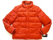 New Tommy Hilfiger Nylon Burnt Orange Down Alternative Puffer Jacket sz L