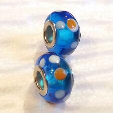 Muranoglas Perlen, blau, weiß, orange, Modeschmuck, Beads, Ketten, Charm