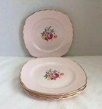 "(5) Vale England Bone China 6"" Dessert Plates ~ Pink w/Rose Flower Bouquet"