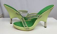 GIUSEPPE ZANOTTI SANDALS SHOES GREEN LACQUERED WOOD PLASTIC STRAPS 37 1/2 6 1/2