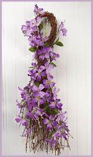 Spring Lavender Forsythia SWAG Purple Floral Teardrop Twig Door Wall Decor