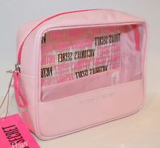 NEW VICTORIA'S SECRET LIGHT PINK CLEAR MAKEUP COSMETIC CASE BEAUTY BAG ORGANIZER