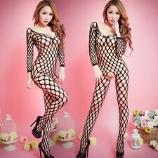 Black Lady Bodystockings Body Stocking Bodysuit Lingerie Big Fishnet Open Crotch