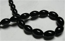 8x12mm Black Rich Agate Onyx Gems Rice Loose Beads 15''
