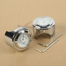 """7/8"""" 1"""" Motorcycle Handlebar White Dial Clock & Thermometer Temp Chrome Mount"""