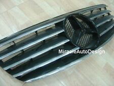 Black Front Grille Set For 2002-2005 Mercedes Benz W220 S-Class S430 S500 S600