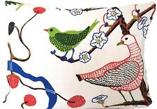 Josef Frank Green Birds Cushion Cover Blue Red White Printed Linen Fabric 16x12""