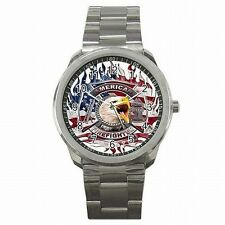 American Firefighter Fireman USA Hero Gift Stainless Steel Sport Watch New!