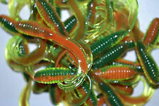 "2"" SOUTHERN PRO CRAPPIE GRUBS LURE TUBE PANFISH BREAM BASS 50PK FIRETIGER TTG"