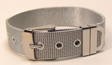 """RC0214 Rustic Mini Mesh Silver Stainless steel Bracelet Cuff 14 mm 9/16"""" wide"""