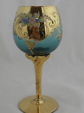 MURANO VENETIAN Turquoise Hand Painted Gold Gilt Applied Flowers Wine Glass