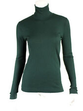 DRIES VAN NOTEN Forest Green Ribbed Knit Turtleneck Sweater M