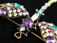 YELLOW PURPLE GREEN RHINESTONE FLY BUG INSECT DRAGONFLY PIN BROOCH JEWELRY 2.25""